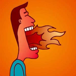 Fire burning on man mouth