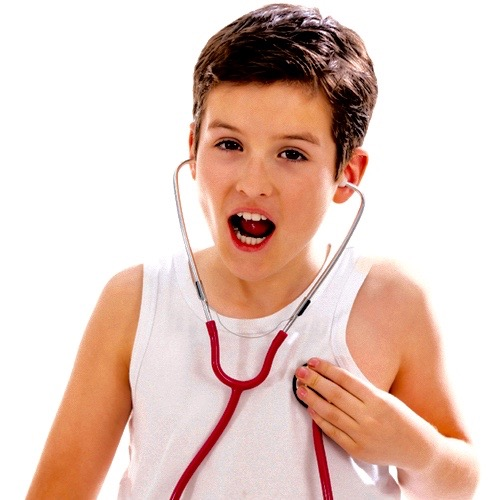Playful boy with stethoscope