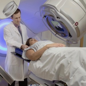 Woman receiving Radiation Therapy Treatments for Cancer