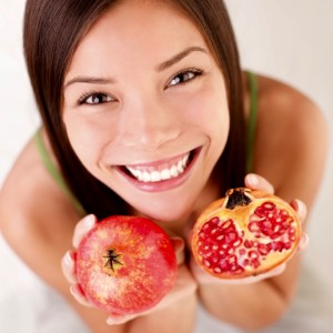 Pomegranate fruit woman
