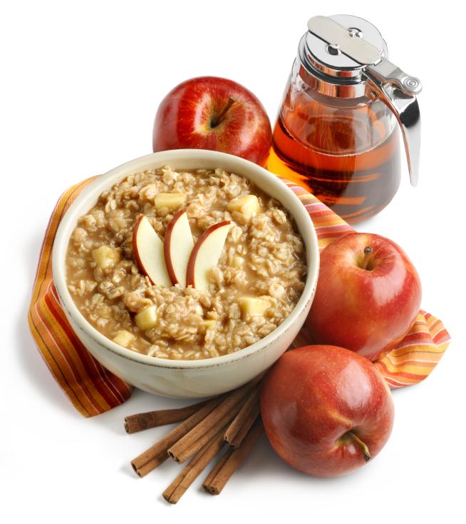 Avena con manzanas y miel